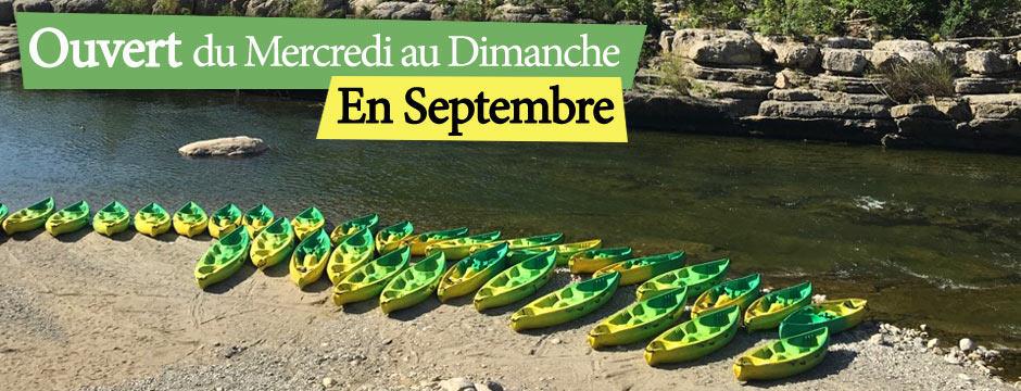 horaires ouverture septembre canoe